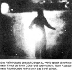 Menger claimed that this photograph showed an extraterrestrial who came to visit him in New Jersey.