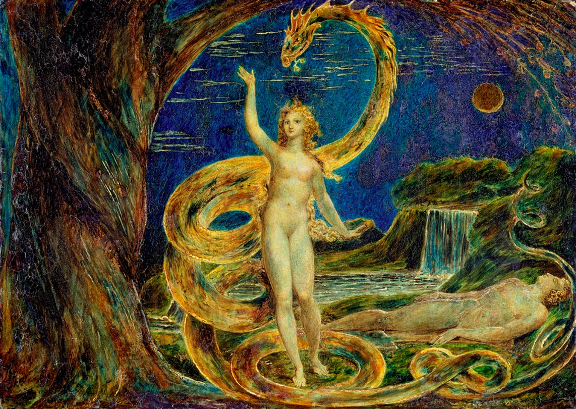 Eve and the serpent, William Blake, public domain